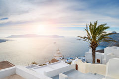 White architecture on Santorini island, Greece. Beautiful landscape with sea view at sunset Royalty Free Stock Image