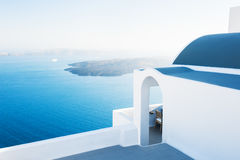 White architecture on Santorini island, Greece. Beautiful landscape, sea view. Travel and vacation Royalty Free Stock Image