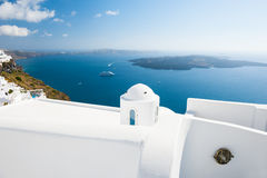 White architecture on Santorini island, Greece. Beautiful landscape, sea view. Travel and vacation Stock Photography