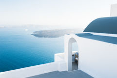 White architecture on Santorini island, Greece. Beautiful landscape at sunset, sea view Stock Images