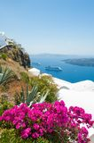 White architecture on Santorini island, Greece. Beautiful summer landscape, sea view Stock Photos