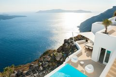White architecture on Santorini island, Greece. Beautiful summer landscape, sea view Royalty Free Stock Photos