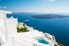 White architecture on Santorini island, Greece. Beautiful summer landscape, sea view Stock Photo