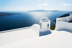 White architecture on Santorini island, Greece. Beautiful summer landscape, sea view Stock Photos