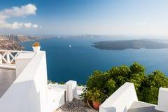 White architecture on Santorini island, Greece. Beautiful summer landscape, sea view Stock Images