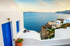 White architecture on Santorini island, Greece. Beautiful summer landscape, sea view Royalty Free Stock Images