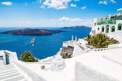 White architecture on Santorini island, Greece. Beautiful summer landscape, sea view Royalty Free Stock Image