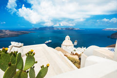 White architecture on Santorini island, Greece. Beautiful summer landscape, sea view Stock Image