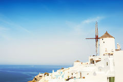 White architecture on Santorini island, Greece. Beautiful summer landscape, sea view Stock Images