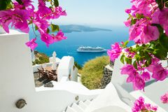 White architecture on Santorini island, Greece. Beautiful summer landscape, sea view Stock Photo