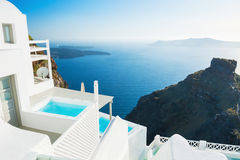White architecture on Santorini island, Greece. Beautiful summer landscape with sea view at sunset Royalty Free Stock Photos