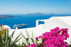 White architecture on Santorini island, Greece. Beautiful summer landscape, sea view Stock Photography