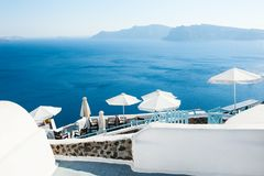 White architecture on Santorini island, Greece. Beautiful summer landscape, sea view Royalty Free Stock Image