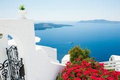 White architecture on Santorini island, Greece. Beautiful summer landscape, sea view Royalty Free Stock Photo