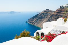 White architecture on Santorini island, Greece. Beautiful summer landscape, sea view Stock Photography