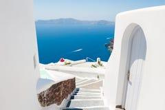 White architecture on Santorini island, Greece. Beautiful summer landscape, sea view Royalty Free Stock Photos