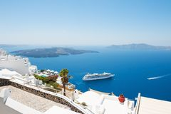 White architecture on Santorini island, Greece. Beautiful summer landscape, sea view Royalty Free Stock Photography