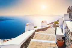 White architecture on Santorini island, Greece. Beautiful summer landscape at sunset, sea view Stock Images