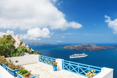White architecture on Santorini island, Greece. Beautiful terrace with sea view. White architecture on Santorini island, Greece Royalty Free Stock Photography
