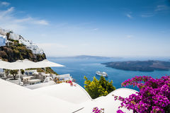 White architecture on Santorini island, Greece. Beautiful view on the sea Royalty Free Stock Image