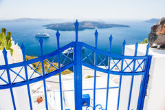White architecture on Santorini island, Greece. Beautiful view on the sea Royalty Free Stock Photos