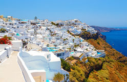 White architecture on Santorini island, Greece. Beautiful view on sea. White architecture on Santorini island, Greece. Beautiful view on the sea Royalty Free Stock Photography