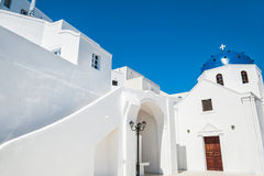 White architecture on Santorini island, Greece. The Church in Imerovigli town. White architecture on Santorini island, Greece Stock Photography