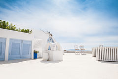 White architecture on Santorini island, Greece. Luxury hotel with sea view. White architecture on Santorini island, Greece. Beautiful summer landscape Royalty Free Stock Image