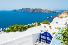 White architecture on Santorini island, Greece. White architecture in Oia town on Santorini island, Greece. Beautiful landscape with sea view Stock Photography