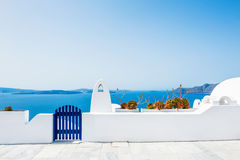 White architecture on Santorini island, Greece. White architecture in Oia town on Santorini island, Greece. Beautiful landscape with sea view Royalty Free Stock Photos