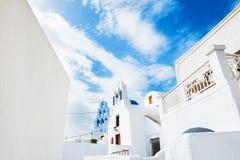 White architecture on Santorini island, Greece. White architecture in Pyrgos village, Santorini island, Greece Stock Images