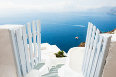 White architecture on Santorini island, Greece. Sea view. Travel and vacation Stock Image