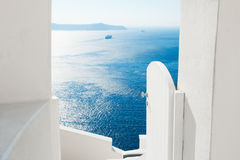 White architecture on Santorini island, Greece. Sea view. Travel and vacation concept Stock Images