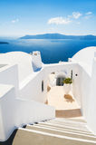 White architecture on Santorini island, Greece. Stairs to the sea. Beautiful landscape with sea view Royalty Free Stock Images