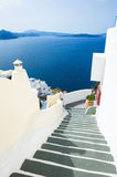 White architecture on Santorini island, Greece. Stairs to the sea. White architecture on Santorini island, Greece. Beautiful landscape with sea view Stock Photography