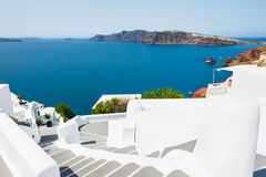 White architecture on Santorini island, Greece. Stairs to the sea. White architecture on Santorini island, Greece. Beautiful landscape with sea view Stock Images