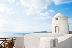 White architecture on Santorini island, Greece. Summer landscape, sea view Stock Photography
