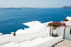 White architecture on Santorini island, Greece. Summer landscape, sea view Royalty Free Stock Photo