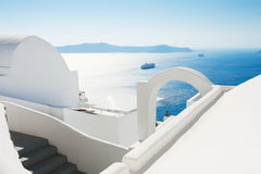 White architecture on Santorini island, Greece. Summer landscape, sea view Royalty Free Stock Photos
