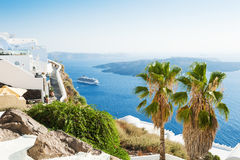 White architecture on Santorini island, Greece. Summer landscape, sea view Royalty Free Stock Images