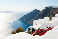 White architecture on Santorini island, Greece. Summer landscape, sea view Royalty Free Stock Image