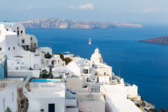 White architecture on Santorini island, Greece. Summer landscape, sea view Royalty Free Stock Photography