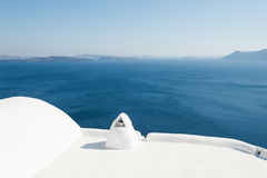 White architecture on Santorini island, Greece. Summer landscape, sea view Stock Photo