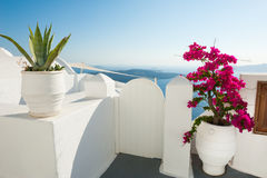 White architecture on Santorini island, Greece. Summer landscape, sea view Stock Photos