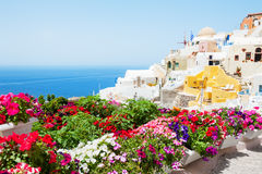 White architecture on Santorini island, Greece. Summer landscape, sea view. Selective focus Stock Image