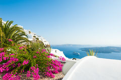 White architecture on Santorini island, Greece. Summer landscape, sea view. Travel and vacation Stock Images