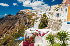 White architecture on Santorini island, Greece. View of Fira town Royalty Free Stock Image