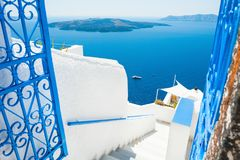 White architecture on Santorini island, Greece. Beautiful summer landscape, sea view Royalty Free Stock Photo