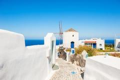 White architecture on Santorini island, Greece. Beautiful summer landscape, sea view Royalty Free Stock Photography