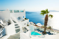 White architecture on Santorini island, Greece. Beautiful summer landscape, sea view Stock Image